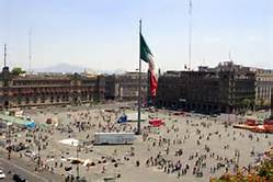 Zocalo Plaza is the central gathering place in Mexico City with cultural restuarants lining side streets and the plaza